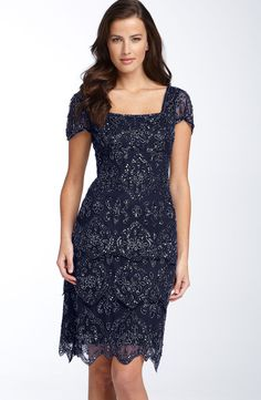 Free shipping and returns on Pisarro Nights Beaded Tiered Shift Dress (Regular & Petite) at Nordstrom.com. Ornate beadwork lends just-right shimmer to a fitted dress with a tiered, scalloped hemline. Sheer flutter sleeves frame the square neckline.