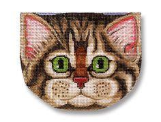 Needlepoint Cat Canvas Gray Tabby Face by ADragonsTaleDirect