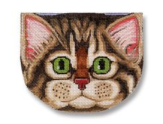 Needlepoint Cat Canvas Gray Tabby Face by ADragonsTaleDirect
