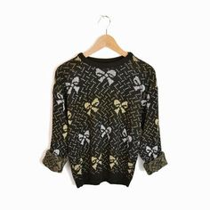 Vintage Ugly Christmas Sweater in Metallic Gold & Silver Bows - women's xs/s