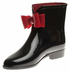 World Footwear Group Black Solid Rubber Rain Booties w/Red Bow on shopstyle.com