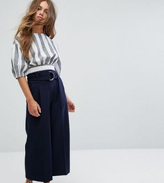 ASOS PETITE Clean Culotte with Oversized D Ring Detail Belt - Navy