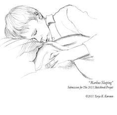 Markus sleeping. Pencil drawing. © Tarja K. Kuronen 2011.