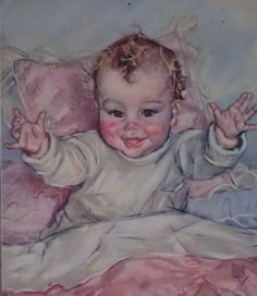 Vintage 1940s Maud Tousey Fangel Baby Print