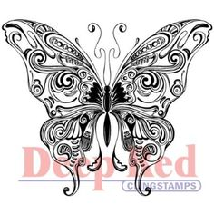 Deep Red Cling Stamp-Butterfly Swirl