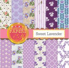 Lavender digital paper, sweet lavender backgrounds x 12 lilac purple digital paper