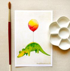 Cute Alligator with Red Balloon Illustration by BeagleCakesArt