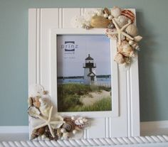 Beach Decor Shell Frame - Nautical Decor Seashell Frame w Starfish, 5x7. $60.00, via Etsy.