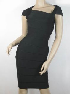 Herve Leger Asymmetric-Neck Bandage Dress Black HL0030  is high quality and low price.$91.33