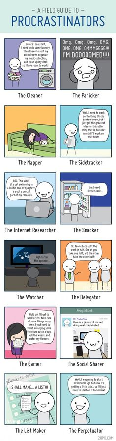 A Field Guide To Procrastinators...How many can you relate to?