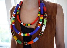 A traditional beaded Zulu necklace handmade in South Africa.