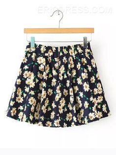 Ericdress Zipper Printed Skirt  Skirts