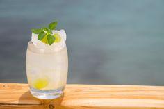 Introducing The Tears of Chios cocktail a mix of Vodka, mastiha liqueur, fresh lime juice, agave, grapes & basil Restaurant Mykonos, Restaurant Bar, Buddha Bar, Santa Marina, After Dinner Drinks, Chios, Executive Chef, Signature Cocktail, Fresh Lime Juice
