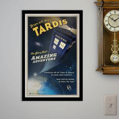Travel by TARDIS  Vintage Styled Poster 11x18 by TheArtEye on Etsy, $18.00