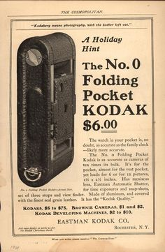 """""""Kodakery means photography, with the bother left out. A Holiday Hint: The No. Retro Advertising, Vintage Advertisements, Vintage Ads, Vintage Posters, Vintage Photos, Retro Ads, Antique Cameras, Old Cameras, Vintage Cameras"""