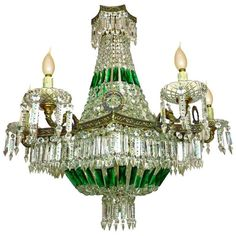 French Empire Chandelier, Bronze Chandelier, Antique Chandelier, Chandelier Pendant Lights, Green Chandeliers, Elegant Chandeliers, Amber Crystal, Crystal Beads, Glass Beads