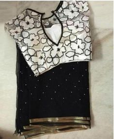 Black Georgette Pearl Work Saree With Stitched Blouse / Traditional / Wedding Wear Indian Women Scrap Sari Party Wear / Festive / Ethnic Sari Blouse Designs, Fancy Blouse Designs, Blouse Styles, Saree Blouse Patterns, Saree Styles, Pearl Work Saree, Anarkali, Lehenga, Net Blouses