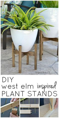 I love the look of simple wooden plant stands and this easy tutorial ads instant height and style to my plants! This post just one of 5 amazing West Elm knock offs for your outdoor space! #knockoff #westelm #diydecor #plantstand #midcentury