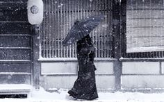 Japanese woman in the snow