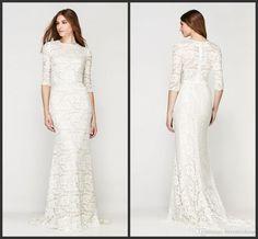 Lace Wedding Dresses Long Sleeves Jewel Neck Zipper Back Two Pieces Dress Sweep Train Elegant Custom Quality