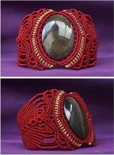 Obsidian - Manto Huichol - macrame cuff bracelet (red / beige) - stone size approx.  4.2/2.5cm