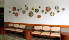 Ceramic wall art discs Natalie Blake Studio
