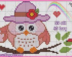 Coruja-com-Chapéu-e-Rosas-Vermelhas-Ponto-Cruz-500x400 66 Gráficos de corujas para bordar em Ponto Cruz