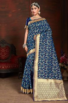 Peacock Blue Silk saree with navy blue silk blouse. Embellished with woven zari work. Saree with Sweetheart Neckline, Short Sleeve. It comes with unstitch blouse, it can be stitched to sizes. Lehenga Style Saree, Sari, Lehenga Choli, Blue Silk Saree, Silk Sarees, Salwar Kameez, Costumes Anarkali, Traditional Sarees, Blouse Online