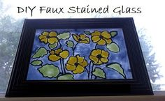 Make your own colorful Stained glass pictures with 4 things you already have on hand. #DIY #StainedGlass #Howto