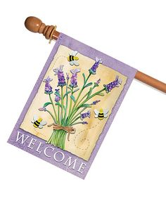 Loving this Lavender 'Welcome' Outdoor Flag on #zulily! #zulilyfinds