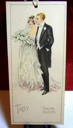 .Vintage Wedding Announcement...Stylish Bride and Groom Card...