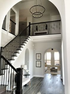 Railing for above stairs. Wall paint color throughout the house: Repose Gray by Sherwin Williams. Trim color throughout house: Sherwin Williams pure white Home Interior, Interior Design, Purple Interior, Brown Interior, Casa Clean, Wall Paint Colors, Gray Paint, Light Grey Paint Colors, Grey Flooring