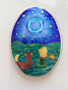 The Little Prince - pendant, brooch, sterling silver, cloisonne enamel - le…