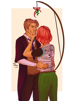 """Pucker up old man"" I always imagined Tonks' teasing Remus of his age and stealing kisses from him in mischievous ways. Thus reminding Remus that she's related to prankster, Sirius Black."