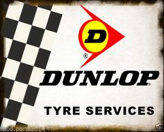 DUNLOP-TYRE-SERVICES-LARGE-METAL-TIN-SIGN-POSTER-OLD-GARAGE-WORKSHOP-DECOR
