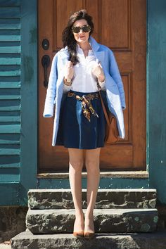 Jacket by Goodnight Macaroon, shirt by J.Crew, vintage scarf, skirt by Banana Republic, bag by Frank Clegg, shoes by Manolo Blahnik. (March 18, 2015)
