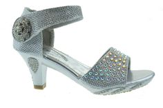 Jan 2KM Little Girls Rhinestone Heel Platform Dress Sandals Silver * Don't get left behind, see this great  product : Girls sandals