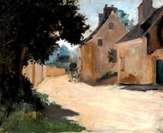 """Pierre-Auguste Renoir - """"Rue de village, Louveciennes"""", c. 1871-72"""