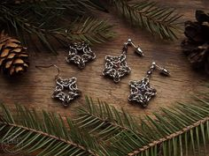 Chainmaille stars, earrings for Christmas