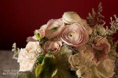 Blush + White Bridal Bouquet  Venue: Rosewater Room | Photography: Matt Trimble | Cinema: Robert Collins | Floral Design: Fraîche Floral Studio | Hair + Makeup: Niki Khalaj + Mona Kavazi | Accommodations: Omni – King Edward Hotel | Photobooth: Never Forget Photo | Cake + Cupcakes: Prairie Girl Bakery | Planning + Coordination: WeddingGirl.ca  #Rosewater #Toronto #WeddingGirlWeddings