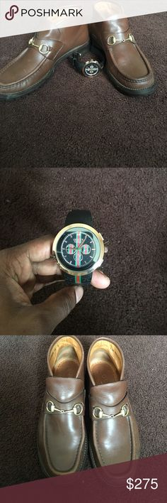 size 10men Gucci's used and a Gucci watch Size 10 brown Gucci shoes with gold buckle no bag or box used and a slightly new Gucci watch black package deal (275) Gucci Other