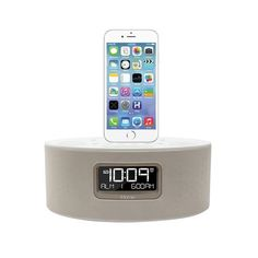iHOME iHome iDL46 Lightning Dock Clock Radio and USB Charge/Play for iPad/iPod and iPhone 5/5S and 6/6Plus iPad Air /iPad Mini (White)