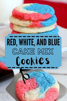 With only three ingredients, Red White and Blue Cake Mix Cookies are an easy way to show your American pride. These cookies are soft, chewy, and delicious! #cakemixcookies #cakecookies Holiday Recipes, Party Recipes, Blue Food Coloring, Blue Cakes, White Cake Mixes, Incredible Recipes, Cake Mix Cookies, Barbecue Recipes, Pinterest Recipes