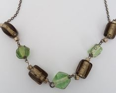 Items similar to Macrame necklace with Murano glass beads on Etsy