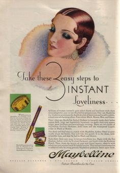 A vintage Maybelline ad from the 1930s.