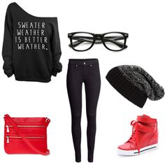 black and red Better Weather, Shoe Bag, Polyvore, Red, Sweaters, Stuff To Buy, Shopping, Collection, Shoes