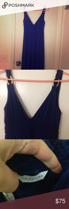 Trina Turk Maxi dress Navy blue maxi with gold detail on straps. Great for summer. In excellent condition. Trina Turk Dresses Maxi