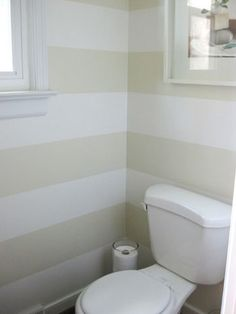 Yup, we painted cream on cream horizontal stripes in the half bathroom! It used to be the same tone as the hallways and the adjoining den (Wishes by Glidden