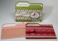 File folder cards which are absolutely adorable and are in the normal card size we usually do. Stampin up product.