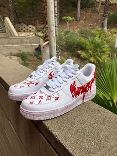 THE BEST Dripping Red LV x Supreme Nike Air Force Ones efca197cf53